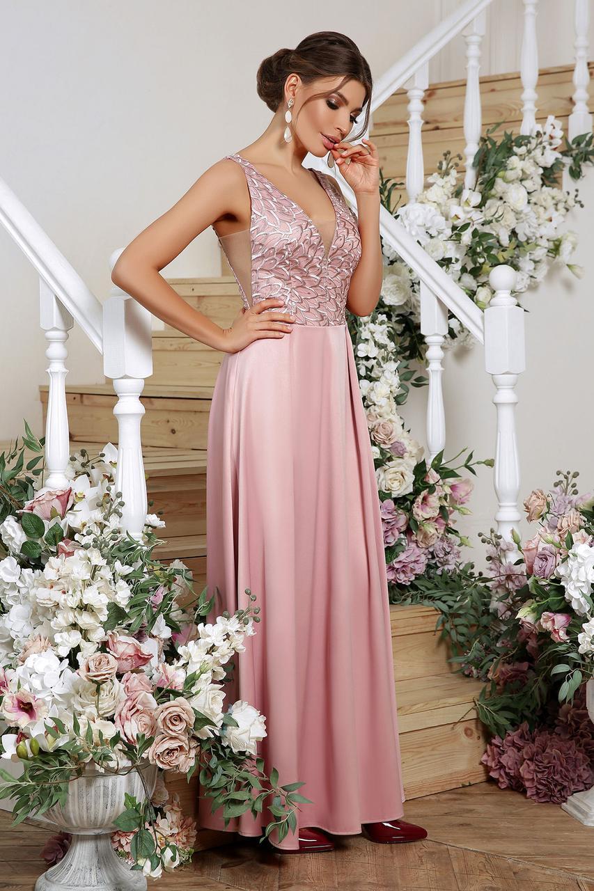 Платье вечернее атласное лиловое Мэйси