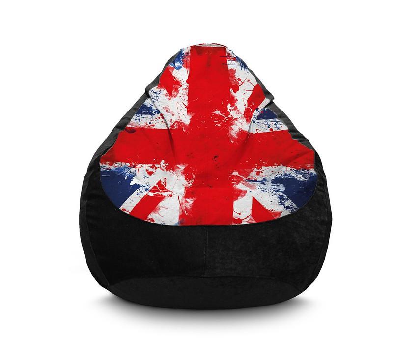 """Кресло мешок """"Британский флаг"""" black"""