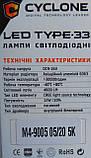 Лампы LED Cyclone HB3 9005 type-33 5000k 4600Lm, фото 4