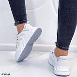Жіночі білі кросівки текстиль, фото 4
