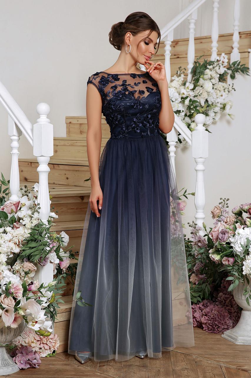 Элегантное синее вечернее платье с эффектом двухслойности  Августина