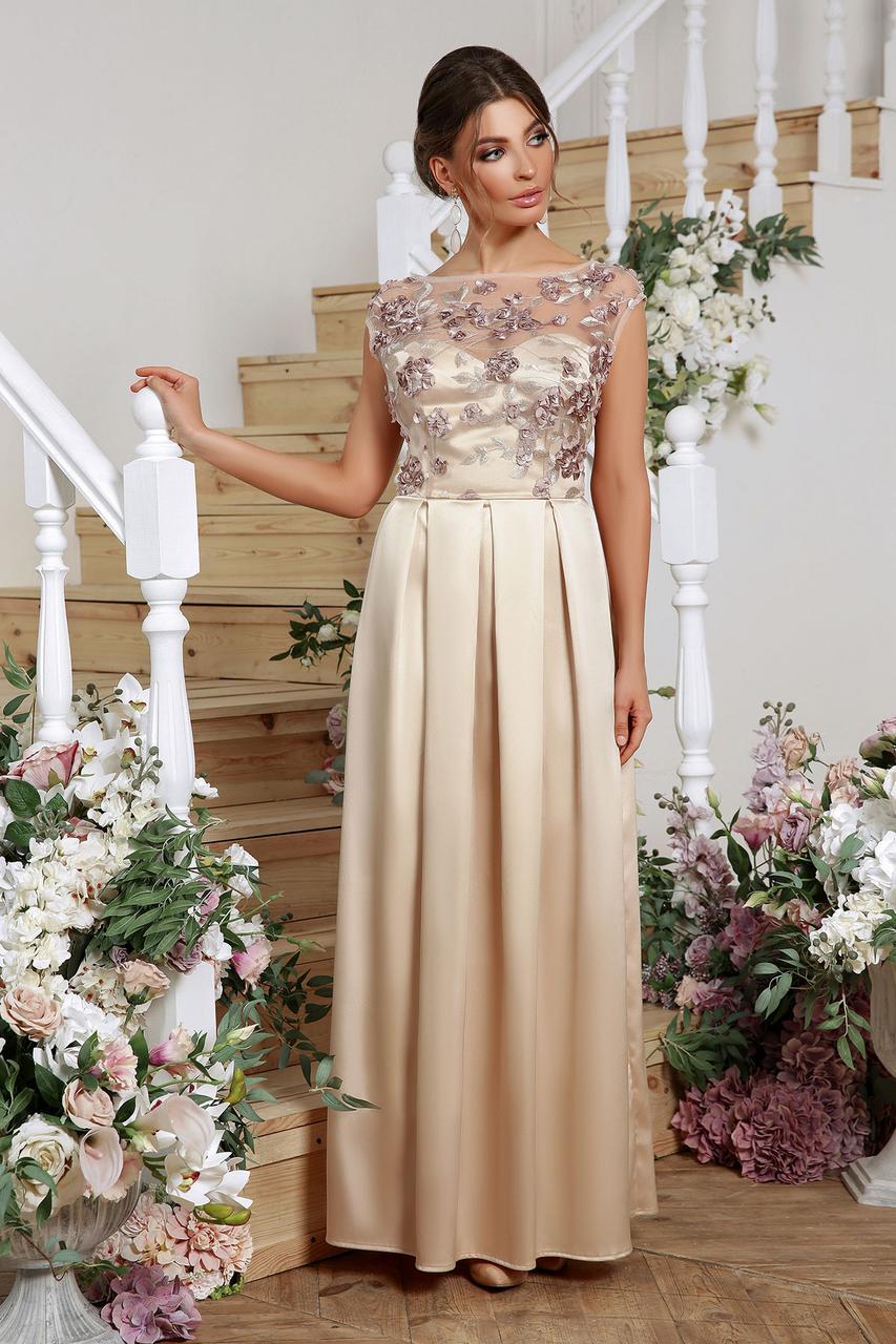 Стильное женственное платье с вышивкой  Алевтина (бежевое)
