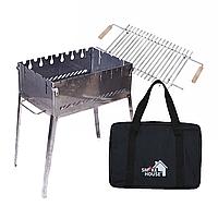 Раскладной мангал чемодан на 6 шампуров из нержавеющей стали с сумкой и решеткой, фото 1