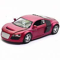 Машинка ігрова автопром «Audi R8» метал, 13 см, фіолетовий, світло, звук, двері відкриваються (3201D), фото 3