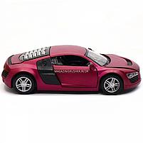 Машинка игровая автопром «Audi R8» металл, 13 см, фиолетовый, свет, звук, двери открываются (3201D), фото 4