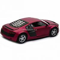 Машинка игровая автопром «Audi R8» металл, 13 см, фиолетовый, свет, звук, двери открываются (3201D), фото 5