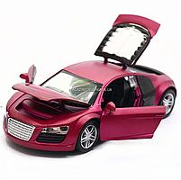 Машинка игровая автопром «Audi R8» металл, 13 см, фиолетовый, свет, звук, двери открываются (3201D), фото 6