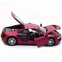 Машинка ігрова автопром «Audi R8» метал, 13 см, фіолетовий, світло, звук, двері відкриваються (3201D), фото 7