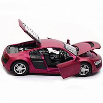 Машинка игровая автопром «Audi R8» металл, 13 см, фиолетовый, свет, звук, двери открываются (3201D), фото 7