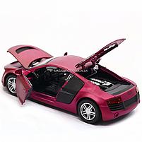 Машинка игровая автопром «Audi R8» металл, 13 см, фиолетовый, свет, звук, двери открываются (3201D), фото 8