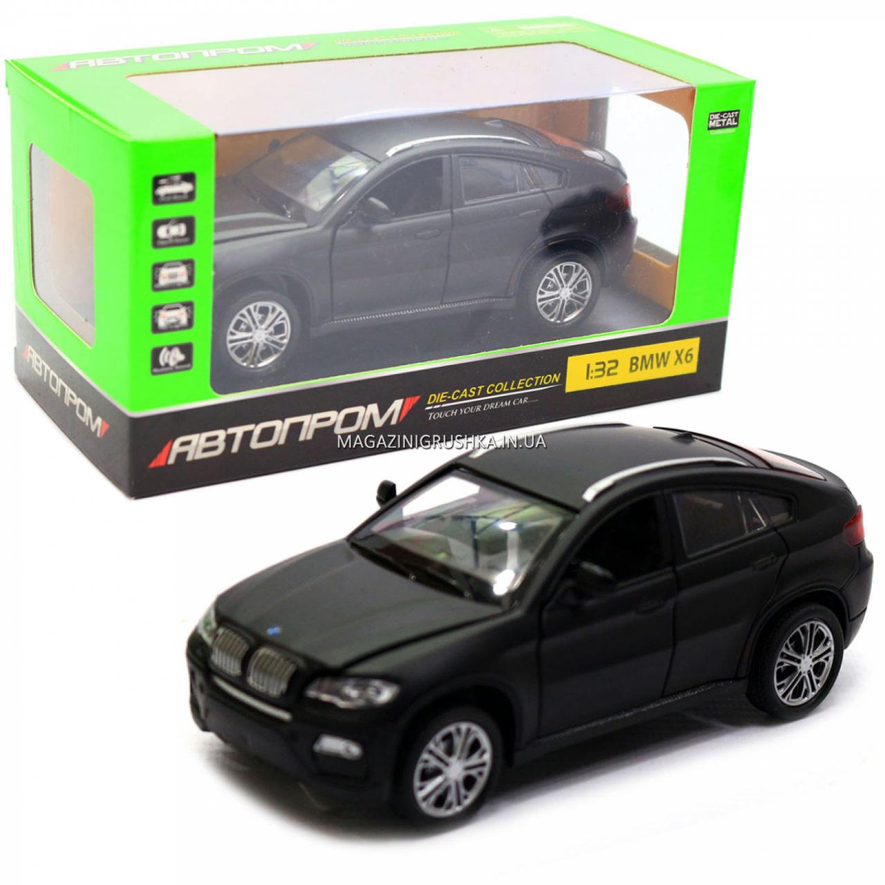 Машинка игровая автопром «BMW X6» джип, 14 см, черный, свет, звук, двери открываются (7860)
