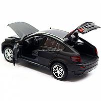 Машинка игровая автопром «BMW X6» джип, 14 см, черный, свет, звук, двери открываются (7860), фото 6