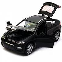 Машинка игровая автопром «BMW X6» джип, 14 см, черный, свет, звук, двери открываются (7860), фото 7