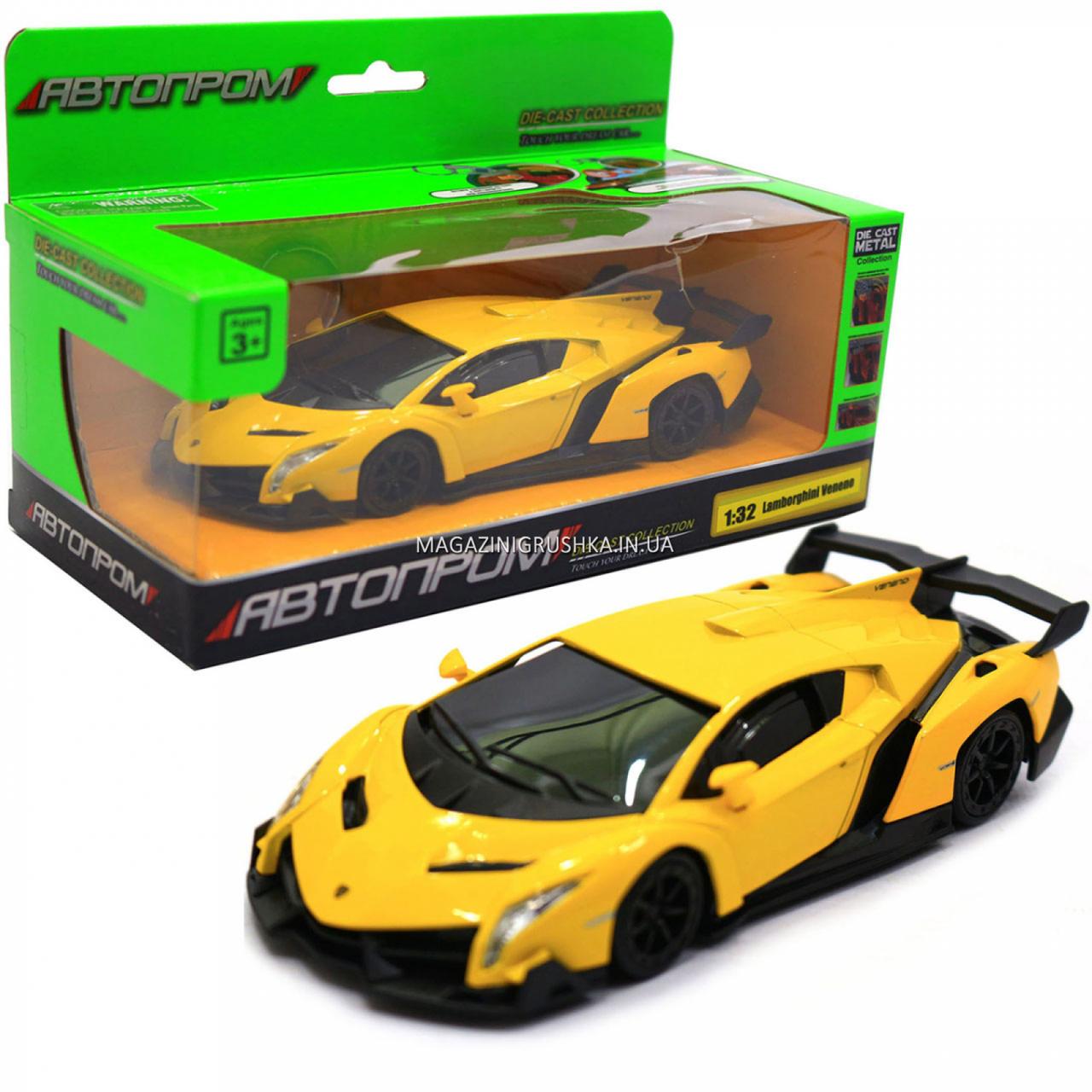 Машинка ігрова автопром «Lamborghini Veneno», 15 см, світло, звук, жовтий (7601)
