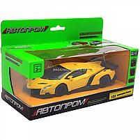 Машинка ігрова автопром «Lamborghini Veneno», 15 см, світло, звук, жовтий (7601), фото 3