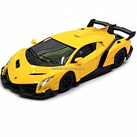 Машинка ігрова автопром «Lamborghini Veneno», 15 см, світло, звук, жовтий (7601), фото 4