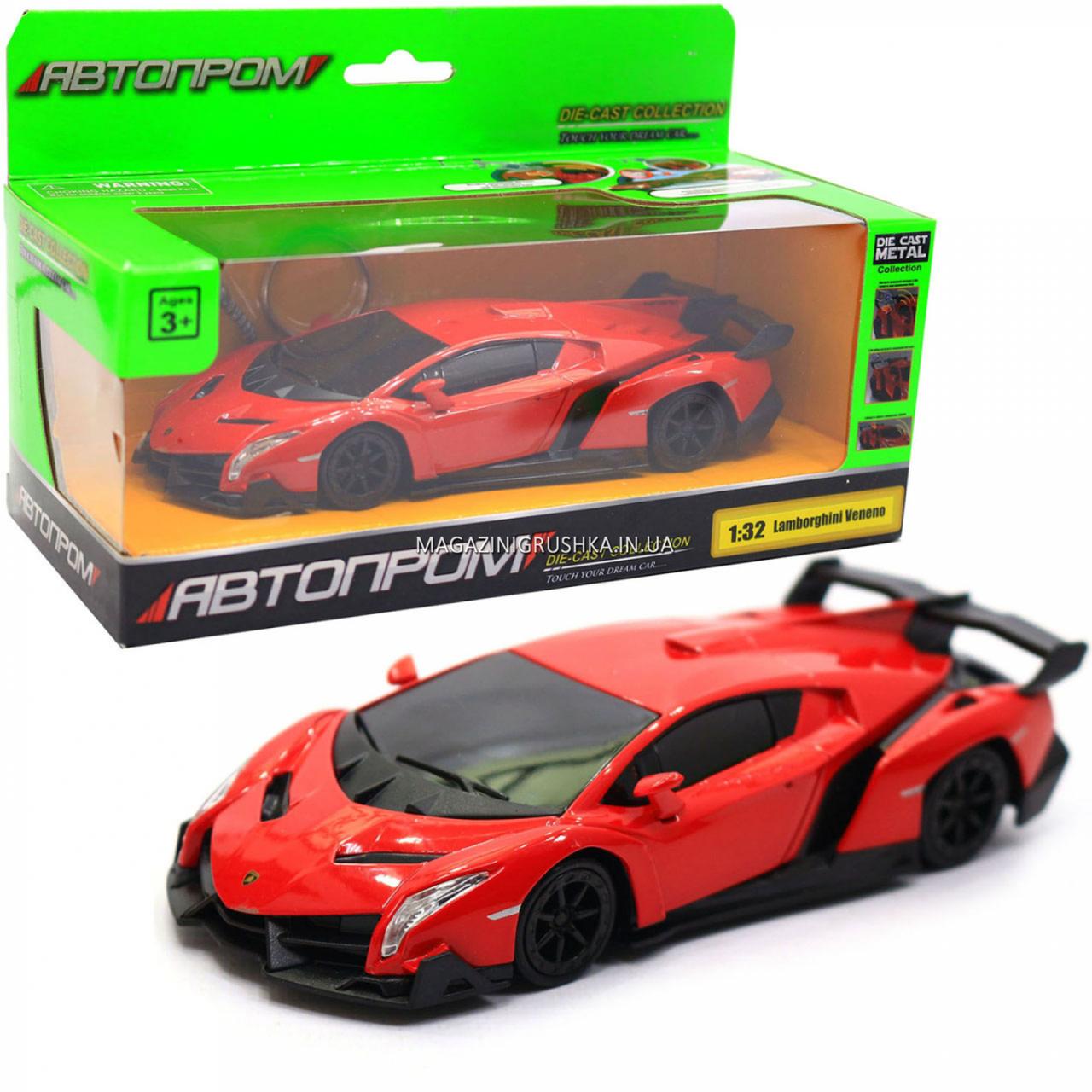 Машинка ігрова автопром «Lamborghini Veneno», 15 см, світло, звук, червоний (7601)