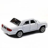 Машинка ігрова автопром ГАЗ-31105 «Волга» білого (світло, звук, метал) 7506, фото 4