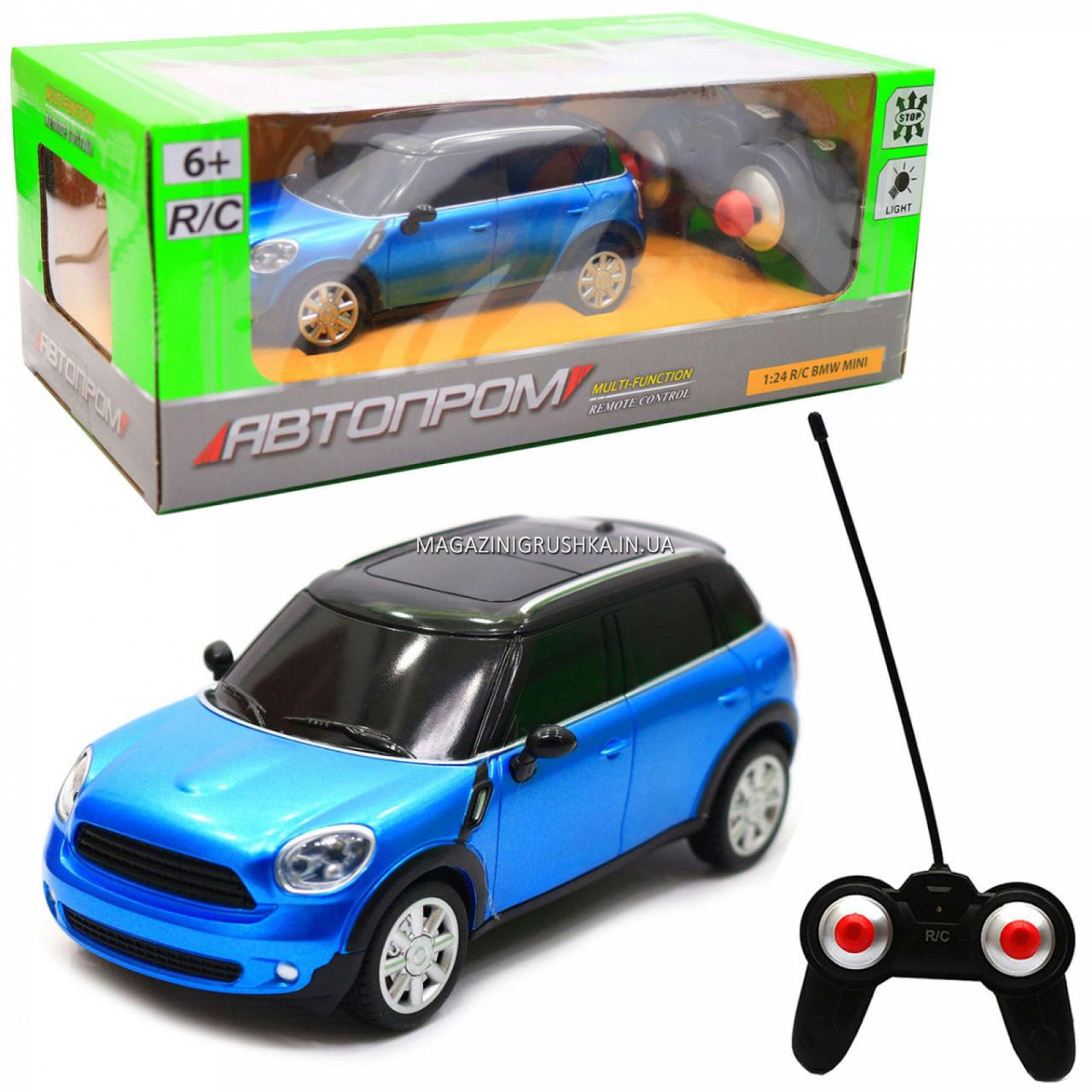 Машинка игровая автопром на радиоуправлении BMW Mini синий (8826)