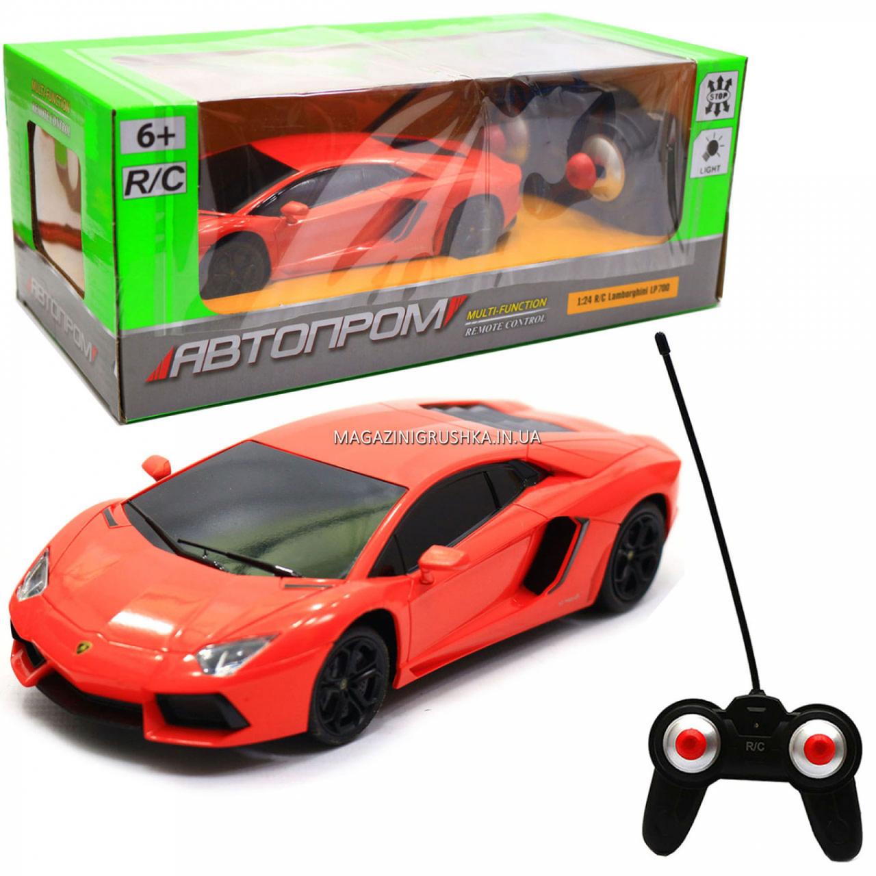 Машинка игровая автопром на радиоуправлении Lamborghini LP700 красный (8809)