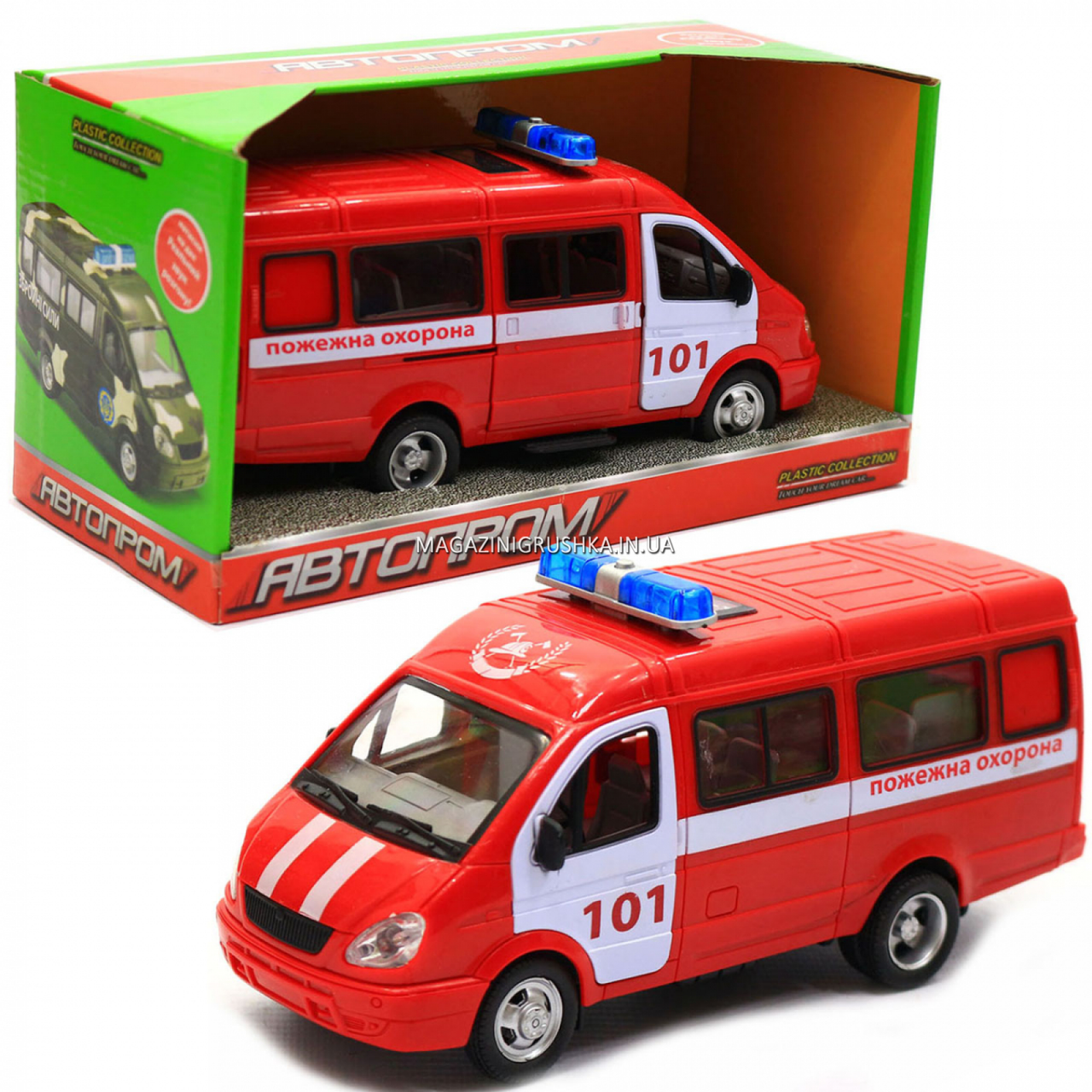 Машинка игрушечная автопром «Пожарная машина» (свет, звук, пластик), 20х7х10 см (7661-1)