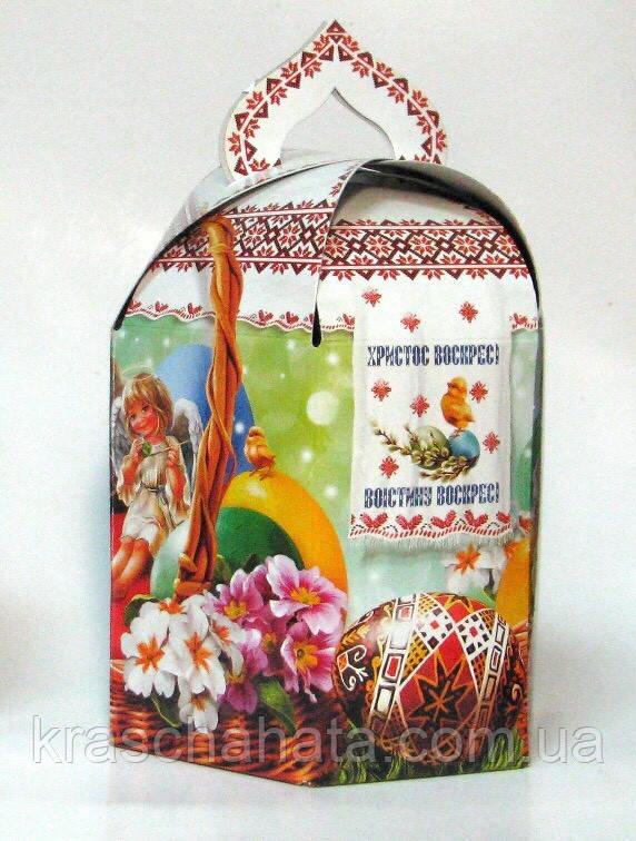 Подарочная пасхальная коробка для кулича,  600 гр, Картонная упаковка для пасхи, Днепр