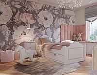 Фотообои в спальню нежные розовые цветочки на сером фоне Floral 010