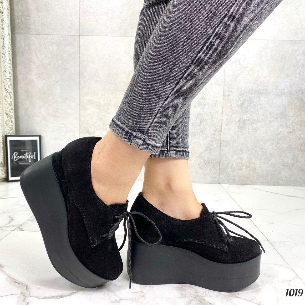 Туфли женские черные на платформе 10 см натуральная замша