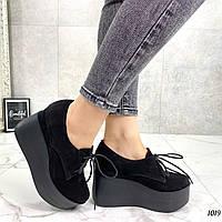 Туфли женские черные на платформе 10 см натуральная замша, фото 1