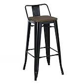Полубарный стул SDM Tolix-wood высотой 62 см матовые металлические ножки с подножкой сидение-деревянное