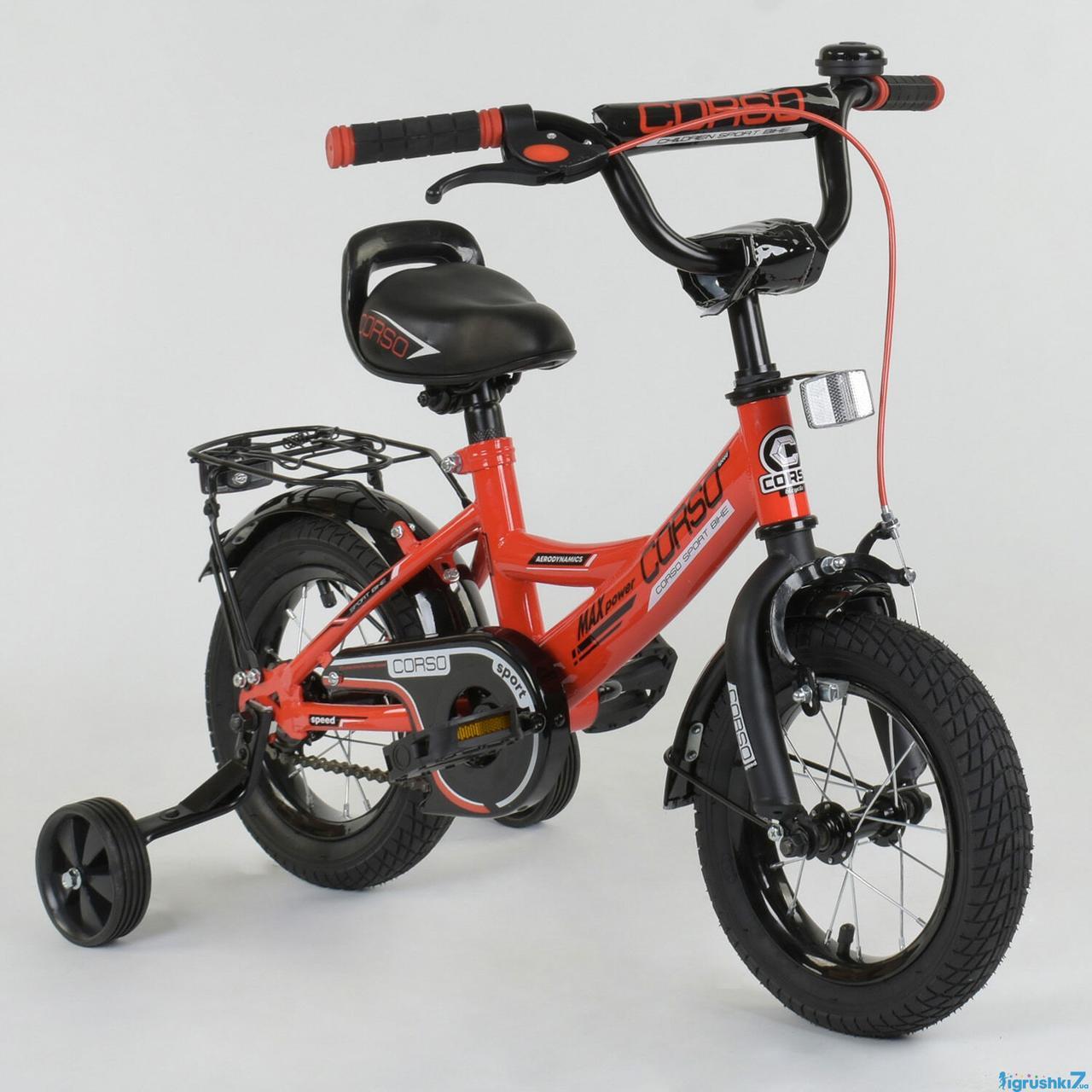 Детский двухколесный велосипед Corso колеса 12 дюймов CL-12 D 0106 красный