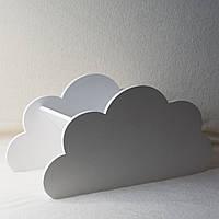 Напольная белая полка для книг в детскую комнату в форме облака