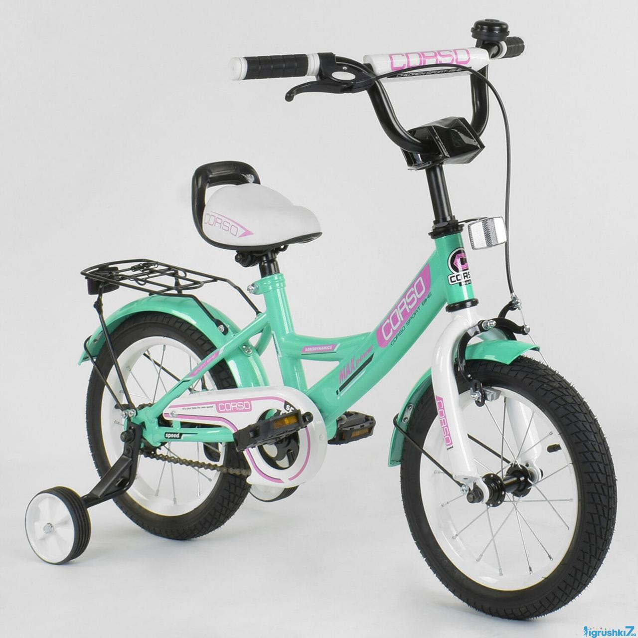 Детский двухколесный велосипед Corso колеса 14 дюймов CL-14 D 0211 бирюзовый