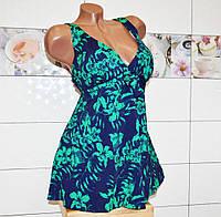 Пляжный сине-зеленый женский купальник-платье (64 раз.), танкини, раздельный, высокие плавки, мягкая чашка.