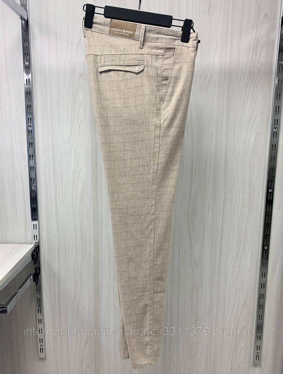 Мужские брюки Prodigy. Лён. (Linen 2054). Размеры: 31,32,33,34,36,38,40.