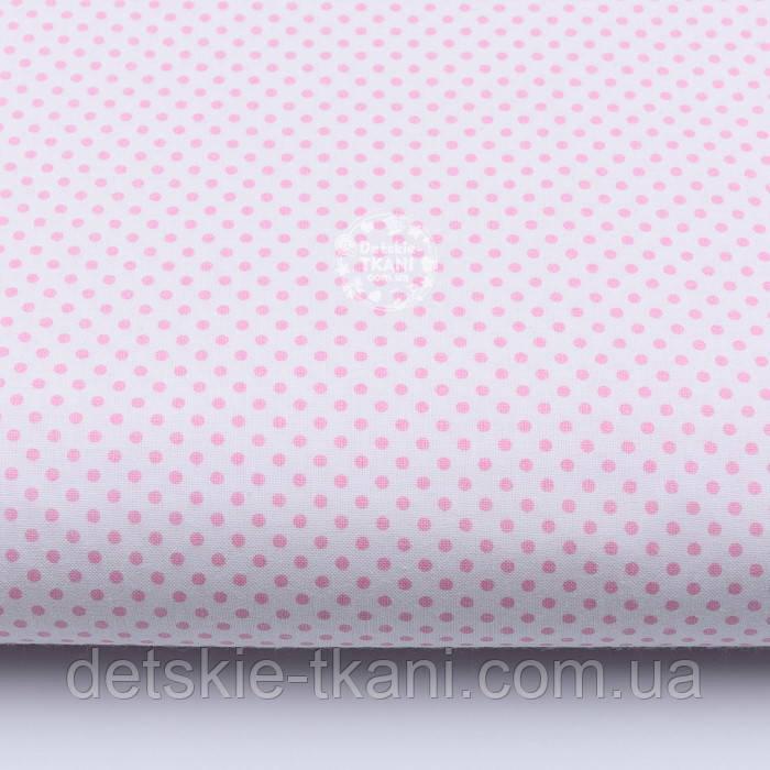 """Лоскут ткани """"Пунктирный горошек"""" бледно-розовый на белом (№1920), размер 65*27 см"""