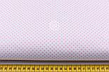 """Лоскут ткани """"Пунктирный горошек"""" бледно-розовый на белом (№1920), размер 65*27 см, фото 2"""