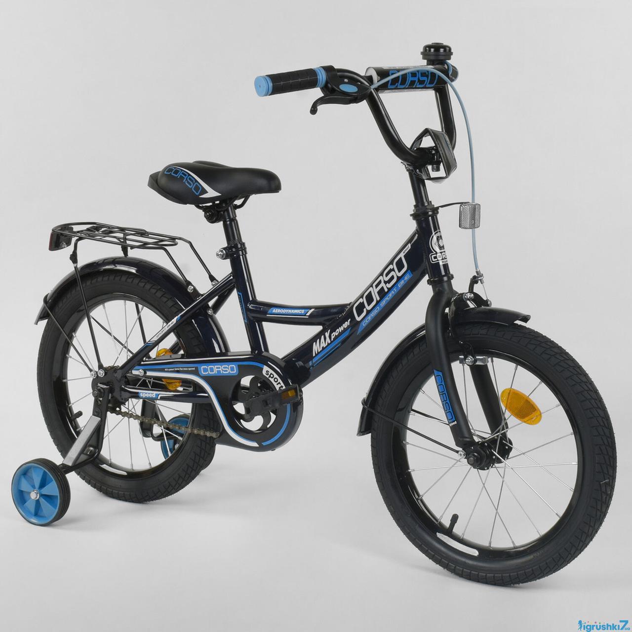 Детский двухколесный велосипед Corso колеса 16 дюймов CL-16 P 6633 черный
