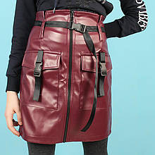 2555бор Кожаная юбка для девочки карандаш с карманами размер 34,36,38,40,42