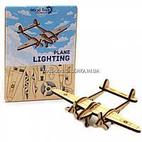 Деревянный конструктор Wood Trick Вудик самолет лайтнинг, 18 деталей. Техника сборки - 3d пазл, фото 1