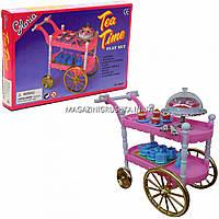 Детская игрушечная мебель Глория Gloria для кукол Барби для чаепития, тележка, аксессуары, 98008