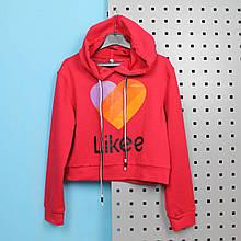 58026крас Кроп-топ для девочки с капюшоном Like красный размер 34,36,38,40,42