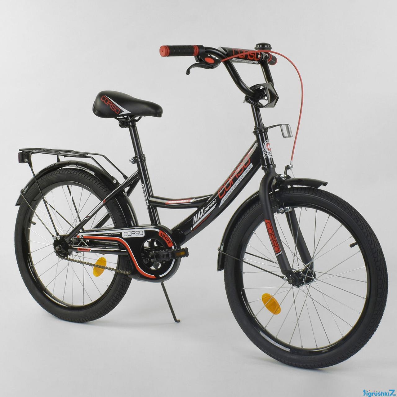 Детский двухколесный велосипед колеса 20 дюймов Corso CL-20 Y 3230 черный