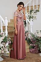 Вечернее платье в пол с цветочным принтом в лиловом и сером цвете