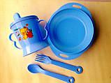 Набор детской посуды 4 предмета: поилочка, мисочка, ложечка и вилочка. , фото 3