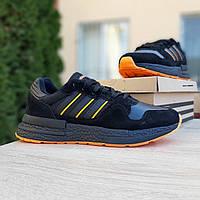 Мужские кроссовки в стиле  Adidas ZX 500  черные с оранжевым, фото 1