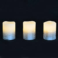 Набор свечей Yes! Fun воск. LED 3шт., 5*6.5, серебро
