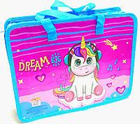 Папка-портфель на молнии с ткаными ручками для девочки Unicorn Dreams 14001