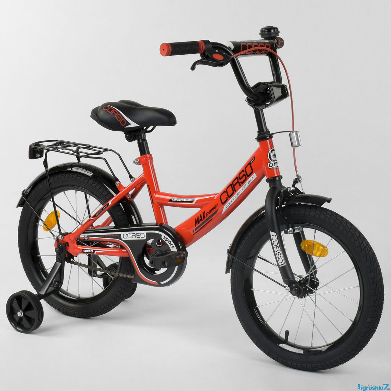 Детский двухколесный велосипед колеса 16 дюймов Corso CL-16 P 2255 красный
