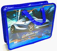 Папка-портфель на молнии с ткаными ручками для мальчика Electro Car 14002